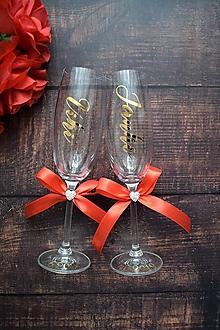 Nádoby - Svadobné poháre s menom zvislo - 10469785_