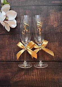Nádoby - Svadobné poháre s menom zvislo - 10469792_