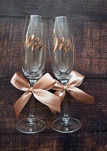 Nádoby - Svadobné poháre MR MRS Golden Rose - 10469948_