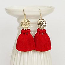 Náušnice - Zlaté náušnice s červenými strapcami - 10469526_