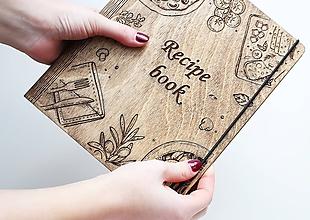 """Papiernictvo - Drevený receptár """"Recipe Book"""" tmavý - 10468615_"""