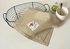 Úžitkový textil - Obrúsok ľanový s  ručnou výšivkou - 10470353_
