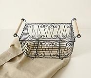 Košíky - Košík s drevenými rúčkami - 10470439_