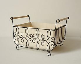 Košíky - Košík s drevenými rúčkami vzor - el - 10470392_
