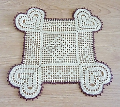 Úžitkový textil - Srdiečková dečka s hnedým okrajom - 10470677_