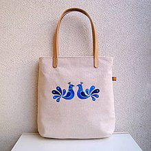 Veľké tašky - Ľanová taška na veľ. A4/ modré vtáčiky - 10469989_
