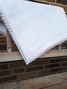 Úžitkový textil - Biely ľanový obrus Elegance - 10470646_