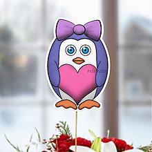 Dekorácie - Tučniak - zápich na tortu (mašľa a srdiečko) - 10468084_