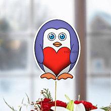 Dekorácie - Tučniak - zápich na tortu (srdce) - 10468088_
