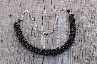 Náhrdelníky - náhrdelník dutinkový polovičný (náhrdelník čierny) - 10471637_