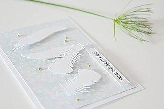 Papiernictvo - Svadobný pozdrav - pierka na mätovej - 10474230_