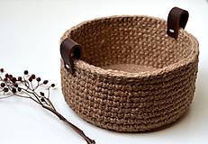 - Háčkovaný košík s koženými uškami - 10473276_