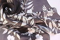 Šatky - Čiernobiela..hodvábna šatka - 10474131_