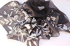 Šatky - Čiernobiela..hodvábna šatka - 10474135_