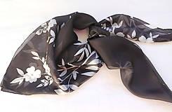 Šatky - Čiernobiela..hodvábna šatka - 10474143_