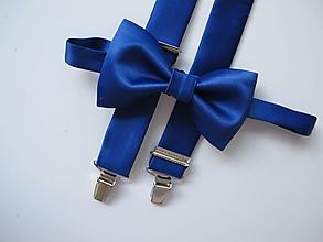 Doplnky - Pánsky motýlik a traky-saténový set parížska modrá, - 10473532_