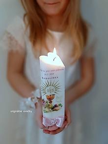 Svietidlá a sviečky - Sviečka na prvé sväté prijímanie (Ružová) - 10474324_