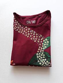 Tričká - Maľované detské tričko, Astry, veľkosť 134/140 - 10472042_