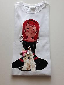 Tričká - Detské tričko Dievča a psík, 128 /134 - 10472101_