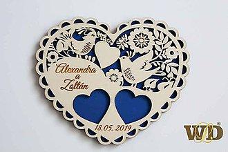 Prstene - Tanierik na obrúčky Ľudové srdce - 10474237_