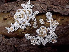 Sady šperkov - čipková svadobná sada - Ivory + zlatá - 10472538  bd9d2b760f4
