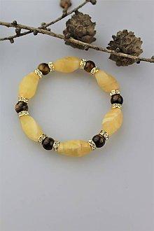 Náramky - kalcit a tigrie oko náramok - 10475123_