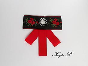 Brošne - dámska mašľa - motýlik (čierno červená) - 10471779_
