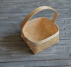 Polotovary - košík z dýhy s rúčkou III - 10471807_