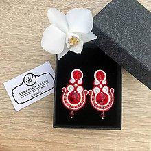 Náušnice - Ručne šité šujtášové náušnice / Soutache earrings - swarovski - 10472603_