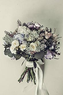 Kytice pre nevestu - Svadobná kytica Violet - 10472210_