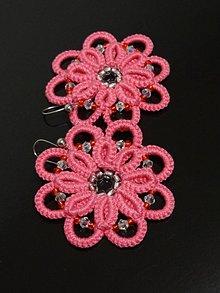 Náušnice - Frivolitkové náušnice - Ružové kvety - 10474675_