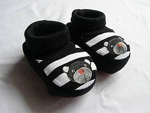 Topánočky - Papučky pre novorodeniatko s mackom - 10472894_