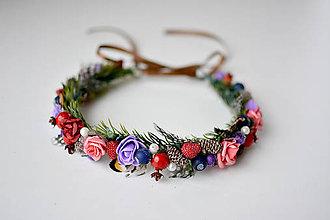 Ozdoby do vlasov - Lesný kvetinový venček s bobulkami - 10471847_