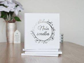 Papiernictvo - Svadobná kniha hostí Silver Flower Wreath - 10472645_