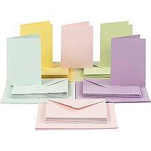 Papier - Pohľadnice a obálky pastelové 10,5x15 cm - 50 ks - 10473365_
