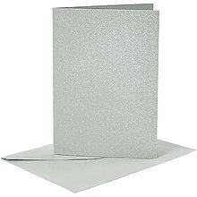 Papier - Pohľadnice a obálky šedé perleťové - 10,5x15 cm - 10473371_