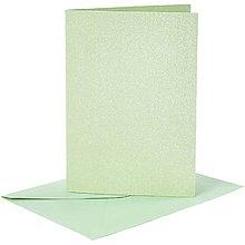 Papier - Pohľadnice a obálky bledozelené perleťové - 10,5x15 cm - 10473379_