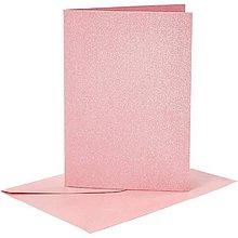 Papier - Pohľadnice a obálky ružové perleťové - 10,5x15 cm - 10473404_