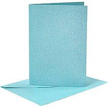 Papier - Pohľadnice a obálky modré perleťové - 10,5x15 cm - 10473436_