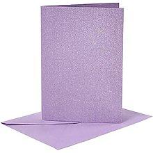 Papier - Pohľadnice a obálky fialové perleťové - 10,5x15 cm - 10473443_