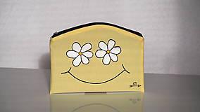 Taštičky - Plátená taštička ručne maľovaná- veselé kvietky - 10474031_