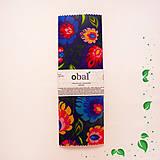 Úžitkový textil - Voskovaný obrúsok - Tmavé kvety (35x30cm) - 10475162_