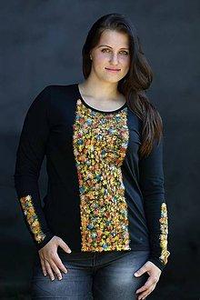 Tričká - Tričko Kvietky čierne dlhý rukáv - 10472734_