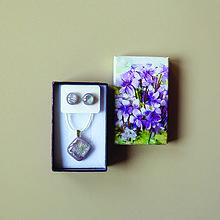 Sady šperkov - Svetlo-fialová sada sklenených šperkov - 10471976_