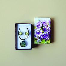 Sady šperkov - Zlato-zelená sada sklenených šperkov - 10472040_