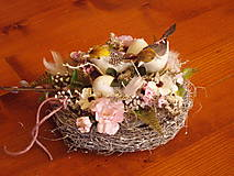 - Bielo-ružové hniezdo s vtáčikmi - 10473097_