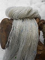 Materiál ručne robený - Ručne postúpená, angora, merino, korálky - Páv - 10477751_