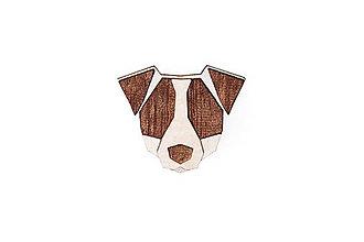 Odznaky/Brošne - Drevená brošňa Jack Russell Brooch - 10475645_