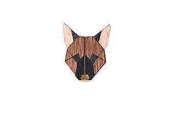 Odznaky/Brošne - Drevená brošňa German Shepherd Brooch - 10475652_