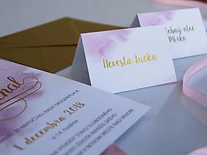 Papiernictvo - Svadobné menovky dusty rose - zlatotlač - 10476361_